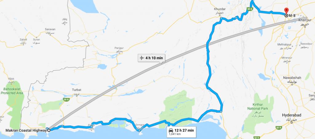 flight route from gwadar international airport to sukkur international airport