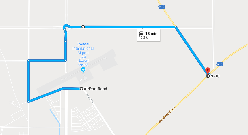 another route from gwadar international airport to makran coastal highway
