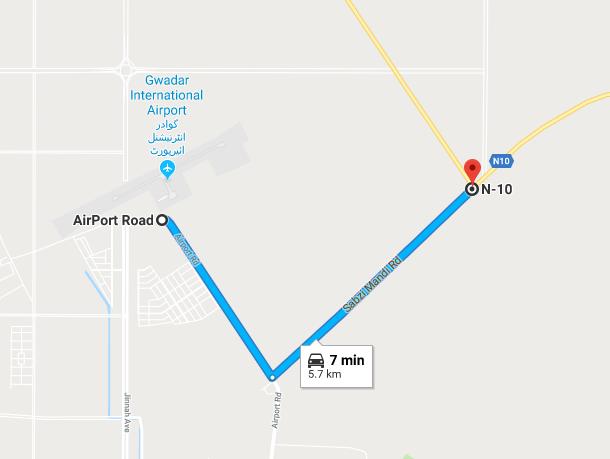 from gwadar international airport to n10 highway