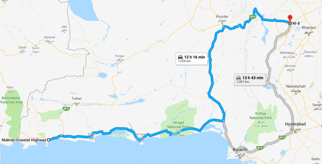 two alternate routes from gwadar to rato dero
