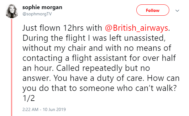 sophie morgan - left unattended at british airways flight