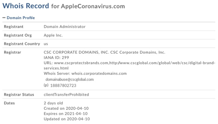 applecoronavirus.com domain viral-a