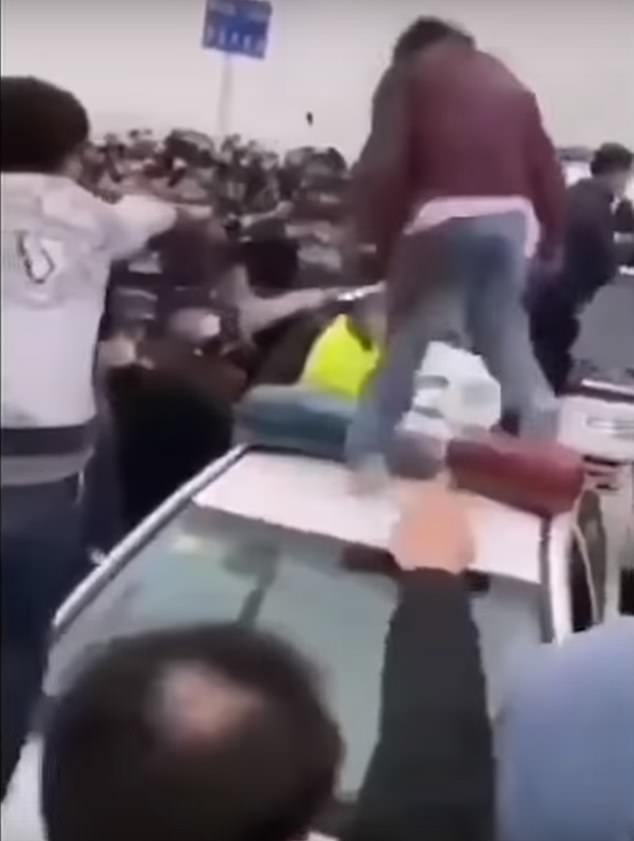police beating people fleeing the epicenter